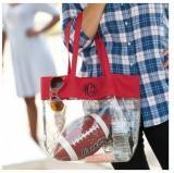 Clear Stadium Tote With Red Trim