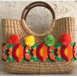 Queen Bea Ole Poms Straw Bag