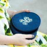 Personalized Round Navy Blue Jewelry Case