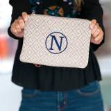 Monogrammed Tan Diamond Wristlet Clutch