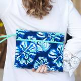 Personalized Maliblue Floral Zip Pouch  . . .
