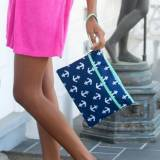 Personalized Navy Anchor Zip Pouch Wristlet