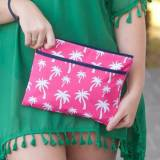 Personalized Hot Pink Palm Zip Pouch Wristlet