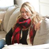 Monogrammed Red Buffalo Check Wide Scarf