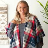 Monogrammed Red And Navy Plaid Kennedy Shawl