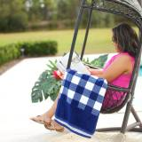 Personalized Navy Check Beach Towel