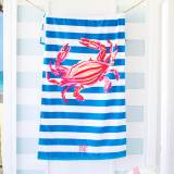 Personalized Crab Stripe Beach Towel