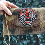 Camo Beaded Clutch With Beaded Tiger