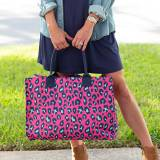 Personalized Hot Pink Leopard Open Top Tote