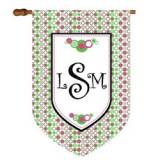 Fun Pastel Polka Dot Monogram Flag