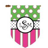 Fun Dots And Stripes Monogram Flag In Pink  . . .
