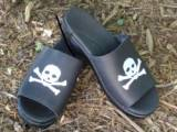 Black Leather Sandal With White Skull And  . . .