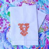 Set Of 2  Monogrammed Linen Bar Towels
