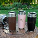 Monogrammed Travel Tumbler In Faux Leather