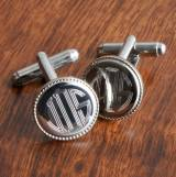 Personalized Cufflinks Men s Silver Round  . . .