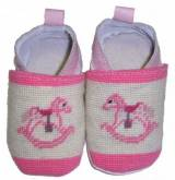 By Paige Needlepoint Pink Rocking Horse  . . .