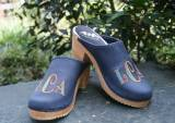 Monogrammed Denim Leather  Clog With Deco  . . .