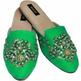 Ladies Silk Slide Mules With Hand Embroidery