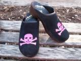 Black Suede Clog With Hot Pink Skull And  . . .