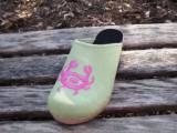 Lime Green Nubuck Clog With Hot Pink Crab  . . .