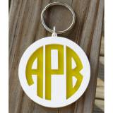 Monogram Keychain Layered Circle Font