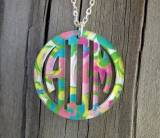 Monogrammed Necklace Bordered Vine Script  . . .