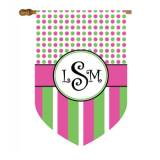 Monogrammed Pink, Green And Black Dots And  . . .