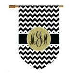 Chevron Print House Flag With Circle Monogram