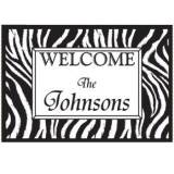 Personalized Welcome Door Mat With Zebra  . . .