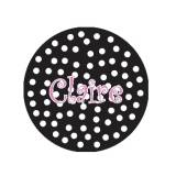 Childs Round Personalized Black And Pink  . . .