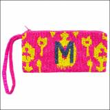 Ikat Pattern Beaded Monogram Wristlet