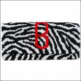 Beaded Zebra Diamond Monogram Clutch
