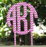 Monogram Circle Chevron Cake Topper