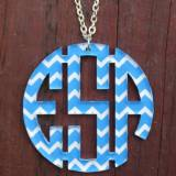 Monogram Necklace Chevron Circle In Acrylic