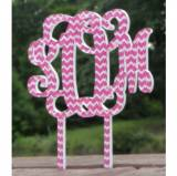 Monogram Vine Font Chevron Wedding Cake  . . .