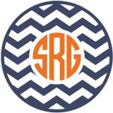 Monogram Chevron Vinyl Car Decal In Circle  . . .