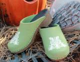 Moss Green Wool Clogs With Our Filigree  . . .