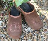 Brown Suede Clogs With Brown Thread  . . .