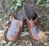 Brown Leather Clogs With Script Letters  . . .