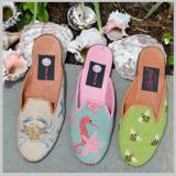 Needlepoint Mules In Low Heel And Kitten  . . .