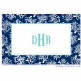 Placemat With Coral Repeat Navy Pattern