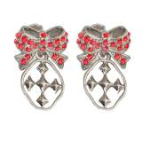 Red Shining Shields Of Faith Bow Earrings