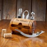 Personalized Wine Barrel Bar Accessory Set