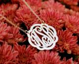 Monogrammed Clover Bordered Necklace