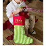 Monogrammed Christmas Stocking In Green  . . .