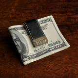 Monogrammed Money Clip Black Gentry Leather