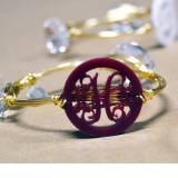 Monogrammed Acrylic Wire Bangle All Colors