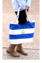 Monogrammed Blue Nautical Striped Canvas  . . .