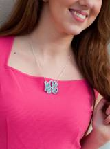Monogrammed Necklace Mint Ikat Acrylic