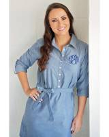 Monogrammed Ladies Shirtdress In Blue  . . .